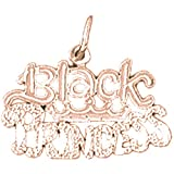14K Rose Gold Black Princess Pendant Necklace - 17 mm
