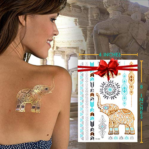 Metallic Temporary Tattoos for Women – 6 Sheets of Premium, Long-Lasting Silver & Gold Fake Tattoos & Multicolor Jewelry Tattoos with Hindu Motif – Easy to Apply & Remove! -