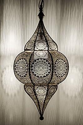 Lampe Suspension Luminaire marocaine Malha 50cm Argent E14 Douille |  Plafonnier Lustre de Salon marocain oriental | Lanterne électrique indienne  ...