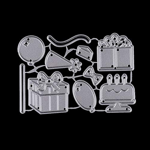 Cake Stencil Paper Metal Happy Birthday Party Cake Gift Box Stencils Balloons Paper Craft Card For DIY Scrapbooking