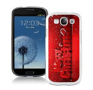 S3 Case,Red Merry Christmas With Snowflakes White Silicone Samsung Galaxy S3 Case,S3 I9300 Cover Case