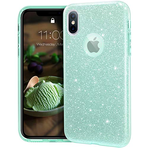 MATEPROX iPhone Xs case,iPhone X Glitter Bling Sparkle Cute Girls Women Protective Case for iPhone Xs/X 5.8-Green