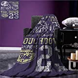 Sports emergency blanket Retro Style American Football College Theme Illustration Athletic Championship Apparel Print Purple size:60''x80''