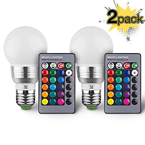 KOBRA LED Bulb Color Changing Light Bulb with Remote Control (2 Pack)16 Different Color Choices Smooth, Flash or Strobe Mode- Premium Quality & Energy Saving Retro LED Lamp (Led Bulb Red Light)