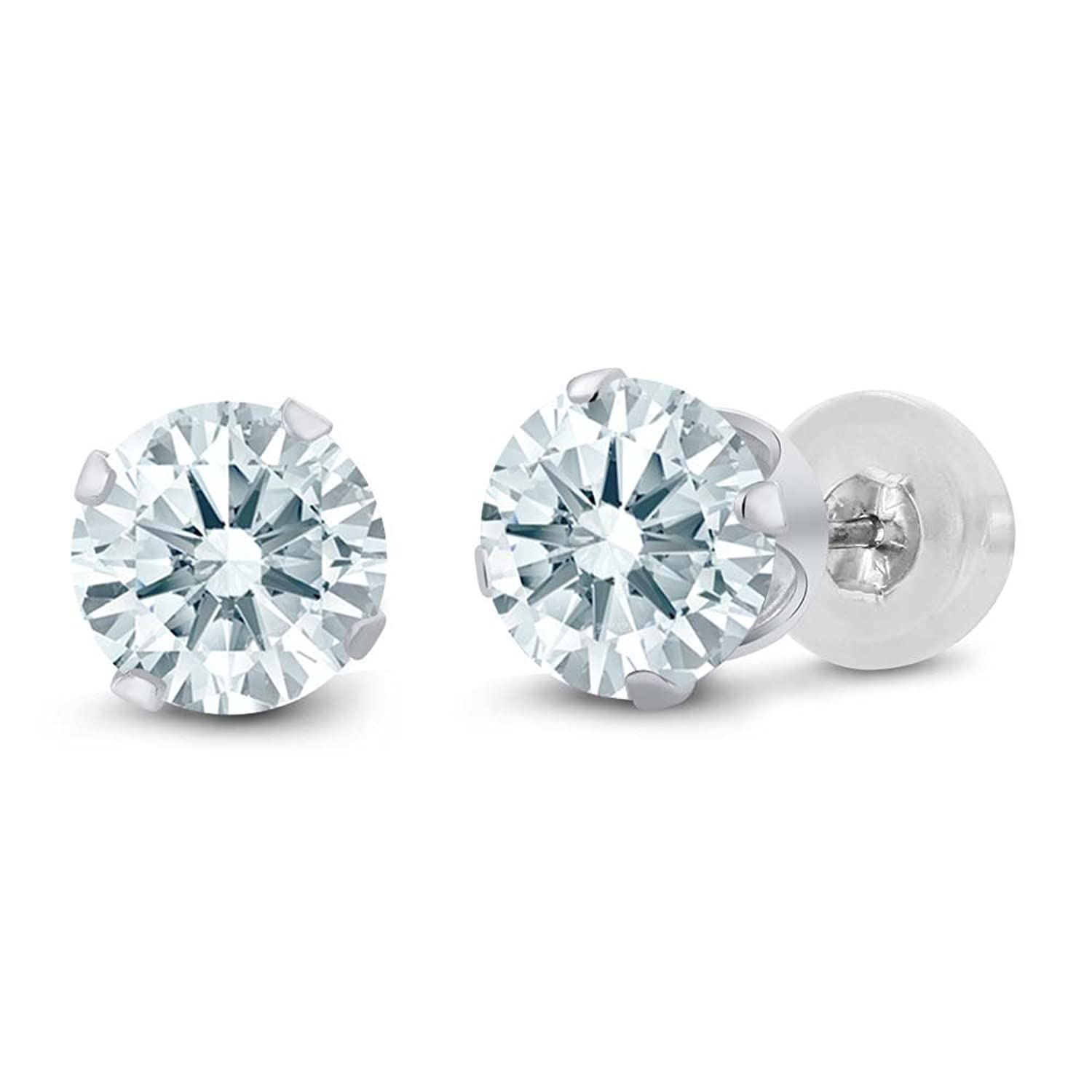 Amazon 2 00 Ct Round Solid 10k White Gold Stud Earrings Made