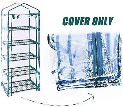 Worth Plástico de Repuesto para Mini Invernadero Cubierta Clara de PVC para Interior y Exterior, para Crecimiento de Semillas, Plantas PVC de 5 Niveles (sin Marco de Hierro)
