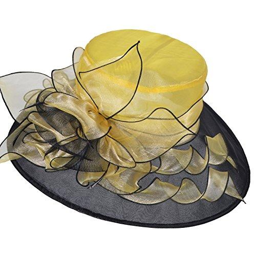 Janey&Rubbins Women Two-Tone Kentucky Derby Tea Party Church Dress Fascinators Sun Hat