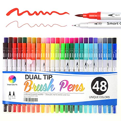 Bullet Journal Calligraphy Art Markers, 48 Colors Dual Tip Brush Pens with Fineliner Tip for Adult Coloring Books Drawing at School Home Office by Smart Color Art