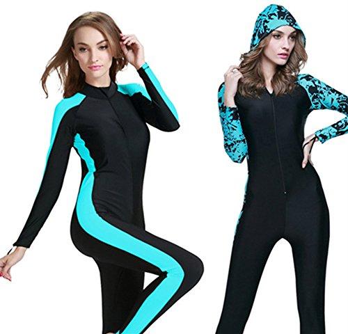 Scuba Snorkeling Swim Lycra Skin Full Suit Wetsuit Modest Swimwear (Int'l - XL, Blue)