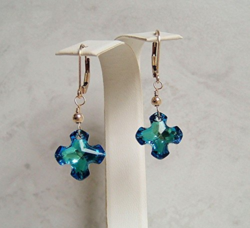 Bermuda Blue Greek Cross Swarovski Crystal Gold Filled Leverback Earrings Gift Idea - Leverback Cross