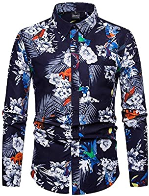 Camisa de Hombre Moda de Manga Larga Impresión Floral Camisas Masculinas Ropa Camisa Casual Hombre Camisa Masculina, Color 1, XXL: Amazon.es: Deportes y aire libre