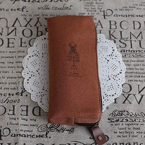 XUEYI Briefpapierkasten Reative Tasche Retro Paris federmäppchen Kosmetik Make-up münzfach reißverschlusstasche geldbörse, Kaffee
