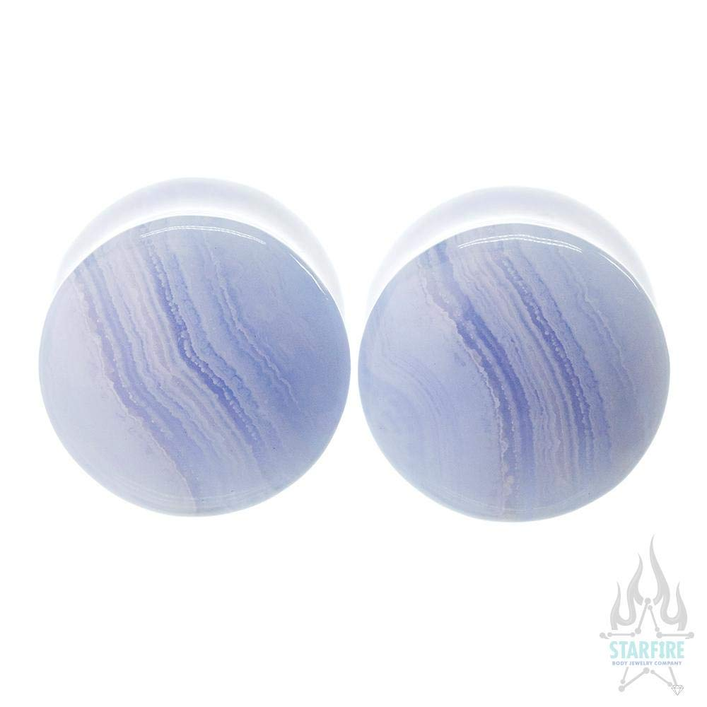 Oracle Body Jewelry Stone Double-Flared Plugs - Blue Lace Agate, 00 ga.