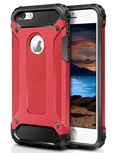 WOLLONY iPhone 5S Case,iPhone SE Case, Rugged Hybrid Dual Layer Armor Protective Back Case Shockproof Cover for iPhone SE, 5, 5S Heavy Duty Slim Hard Shell Protection Impact Resistant Bumper (Red)