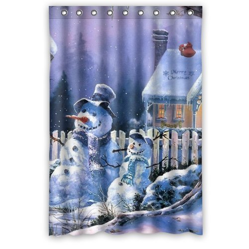 abigai Cute Snowman Merry Christmas Waterproof Bathroom Fabric Shower Curtain 72