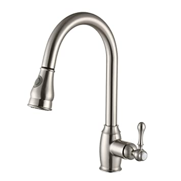 SonTiy Lead Free Kitchen Faucet With Pull Down Sprayer Best Antique Brass  Kitchen Sink Faucet High