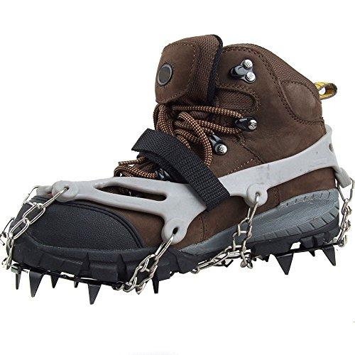 Lixada 1 Paar 12 Zähne Krallen Steigeisen rutschfeste Schuhe decken Edelstahl Kette außen Ski Schnee Wandern Klettern Grey Ice