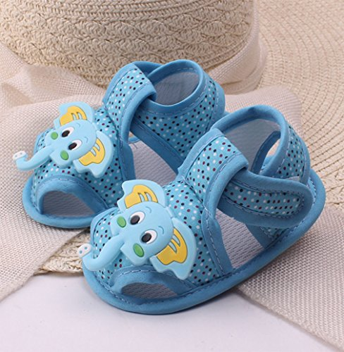 Babyschuhe Baumwolle Lauflernschuhe Krabbelschuh Kleinkind Anti-Rutsch Weicher Sohle Krippeschuhe Sommer Sandale für Mädchen Jungen 0-6 6-12 12-18 Monate Blau