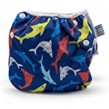 Baby : Nageuret Reusable Swim Diaper, Adjustable & Stylish Fits Diaper Sizes N-5 (8-36lbs) Ultra Premium Quality For Eco-Friendly Baby Shower Gifts & Swimming Lessons (Sharks)