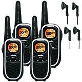 8Km Binatone Terrain 750 Walkie Talkie 2 Two Way Radio Quad Pack + 4 x Comtech CT-10VX Headsets