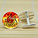 Pretty Lee Avatar The Last Airbender Fire Nation In Silver Cufflinks Glass Cabochon Cufflinks C3694