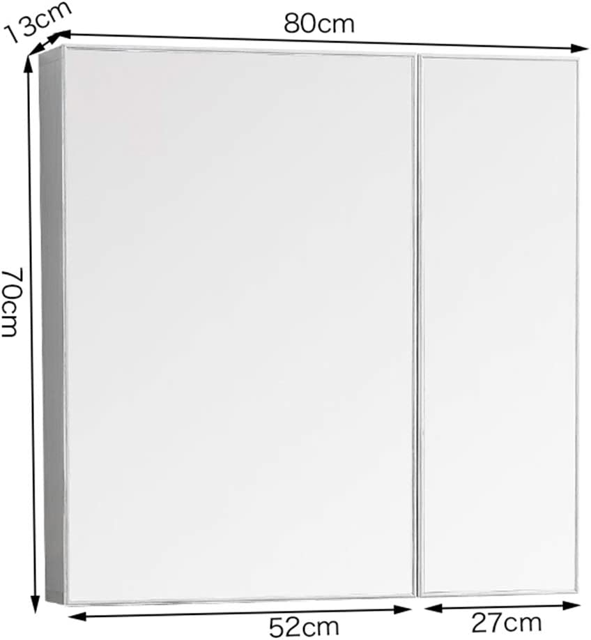 Espejo de baño de doble puerta Espacio de gabinete Espejo de aluminio Caja Espejo completo montado en la pared con taquilla, Espejo plateado de alta definición, Bastidor incorporado, Tamaño múltiple: Amazon.es: Hogar