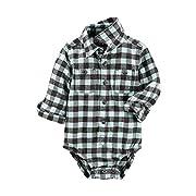 OshKosh B'Gosh Baby Boys' Button-Front Plaid Flannel Bodysuit 9 Months