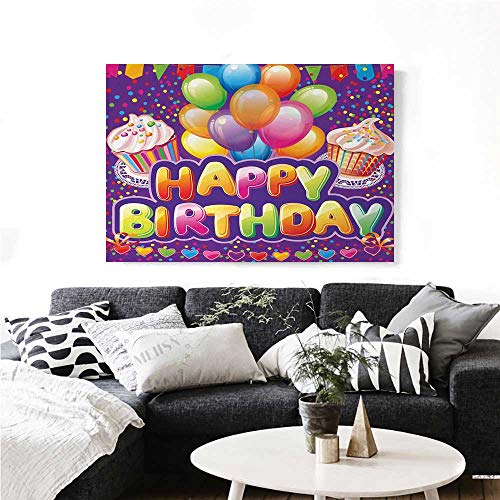 homehot Birthday Wall Art Canvas Prints Purple Colored Backdrop with Creamy Cupcakes Hearts Confetti Rain and Balloons Ready to Hang for Home Decorations Wall Decor 24