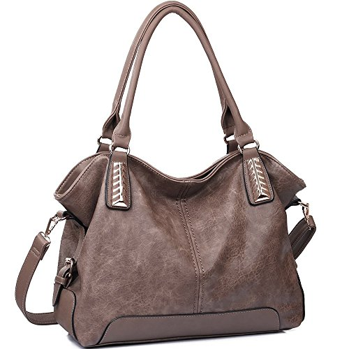 JOYSON Women Handbags Hobo PU Leather Purse Top-Handle Bags Tote Large Shoulder Handbags Brown