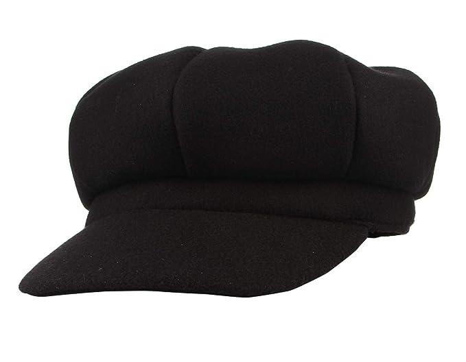 1dece1a841142 Gemvie Women s Wool Newsboy Cabbie Hat Classic 8 Panel Visor Beret  Paperboys Hat Cap Black