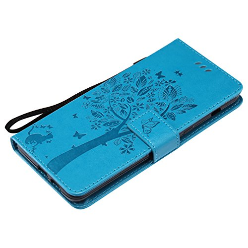 Leather Case for Samsung Galaxy A8 Plus 2018,Samsung Galaxy A8 Plus 2018 Flip Case,EUWLY [Butterfly Tree Flower Cat Pattern] Ultra Slim Leather Flip Stand Case Cover Shockproof Magnetic Bookstyle Stra Blue