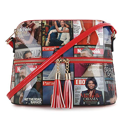 Glossy Magazine Cover Lightweight Medium Dome Crossbody Bag Michelle Obama Purse | Red