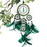 Dream Catcher ~ Handmade Traditional Feather Pendant Wall Hanging Home Decoration Decor Ornament Craft (Green)