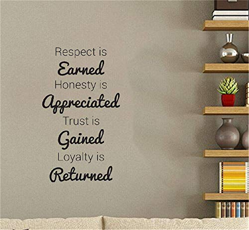 Vinyl Decal Quote Art Wall Sticker Inspirational Quotes Respect is Earned Honesty is Appreciated Living Room