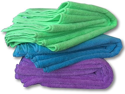 "Super Thick 350 GSM Microfiber Cloths - 12 Pack Large 16"" Washable Premium Towels - Wash or Buff Surfaces, LCD's, Car & Auto Detailing, Bath and Kitchen by MicrofiberPros (Rainbow)"