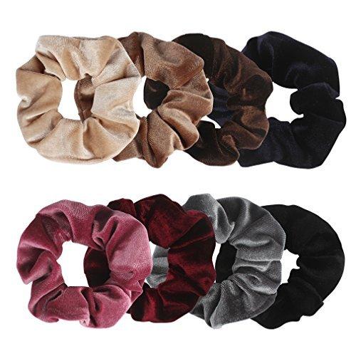 (Ondder Velvet Scrunchies Hair Scrunchy Elastics Bobble Hair Bands Headbands Women Scrunchies Hair Ties Ponytail Holder for Women and Girls, 8)
