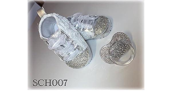 Lujo Zapatos de Bebé y chupete Juego con brillantes, diseño de ...