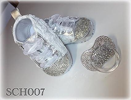 Lujo Zapatos de Bebé y chupete Juego con brillantes, diseño ...