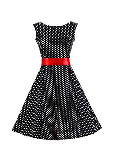 [Ensnovo Womens Sleeveless 50s Vintage Rockabilly Swing Cocktail Party Dress Black XS] (Rockabilly Costumes)