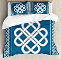 USOPHIA Irish 4 Pieces Bed Sheets Set King Size, Celtic Love Knot Good Fortune Symbol Framework Border Historical Amulet Design Floral Duvet Cover Set, Dark Aqua White