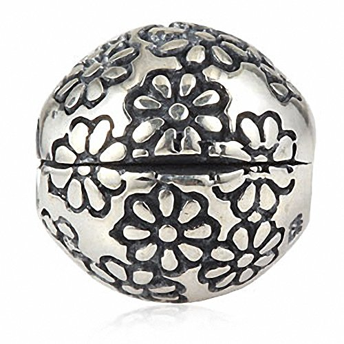 ABUN Flower Clip Charms Authentic 925 Sterling Silver Lock Stopper Beads Charm for Charms Bracelets