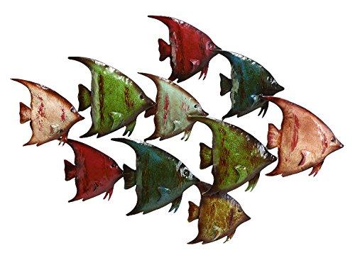 Bellaa 27246 Metal Fish Wall Art Sculptures Nautical Ocean Costal