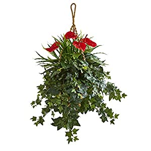 Nearly Natural 8397 31-in. Mixed Anthurium Artificial Hanging Basket Silk Plants Green 120