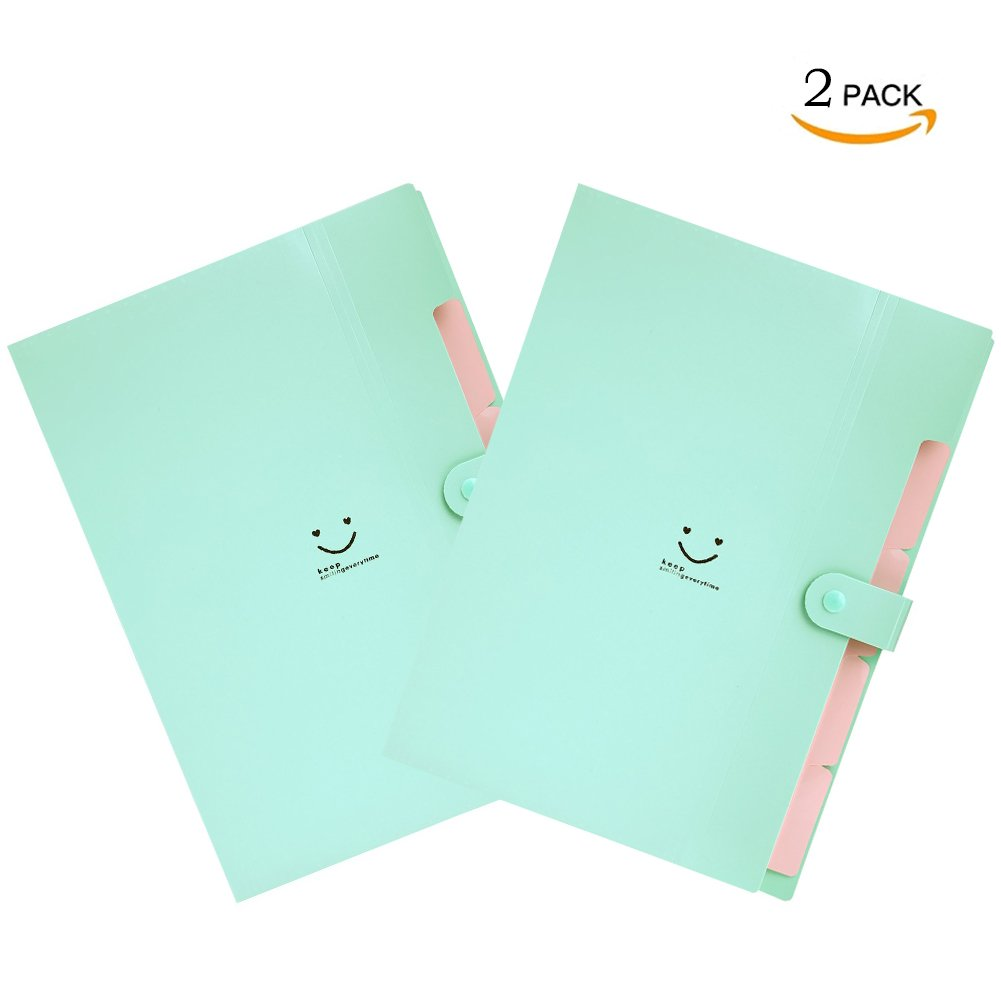 Letter A4 Size Paper Expanding File Folder Pockets Cute Accordion Document Organizer with Snap Closure for School and Office (Jade 2 pcs)