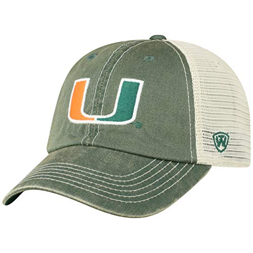 Hat Miami Top - Top of the World NCAA Miami Hurricanes Men's Vintage Mesh Adjustable Icon Hat, Dark Green