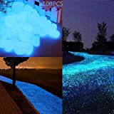 Glow in the Dark Garden Pebbles Stone for Walkway Yard and Decor DIY Decorative Gravel Stones in Blue(100PCS)