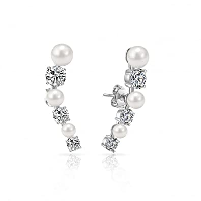 7a35500a97364 White Pearl Climber Earrings with Crystals from Swarovski