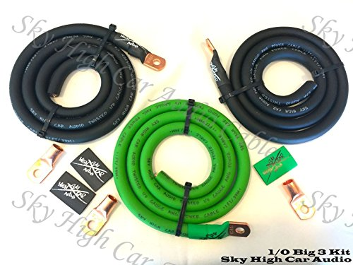 Sky High Oversized 1/0 Gauge AWG Big 3 Upgrade GREEN/BLACK Electrical Wiring Kit