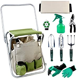INNO STAGE Upgrade 10 Piece Garden Hand Tools Set, Collapsible Gardening Stool Seat Kit with Backrest and Detachable…