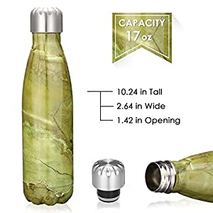 KING DO WAY 17oz Double Wall Vacuum Insulated Stainless Steel Water Bottle Perfect for Outdoor Sports Camping Hiking Cycling Picnic (Emerald Green)